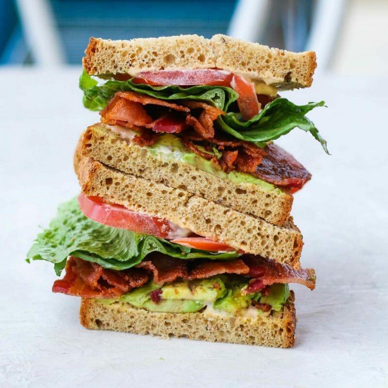 avocado bacon lettuce tomato sandwich