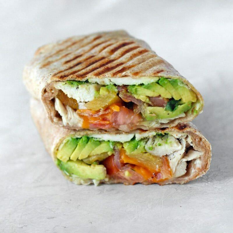 lunch wrap chicken avocado cheese