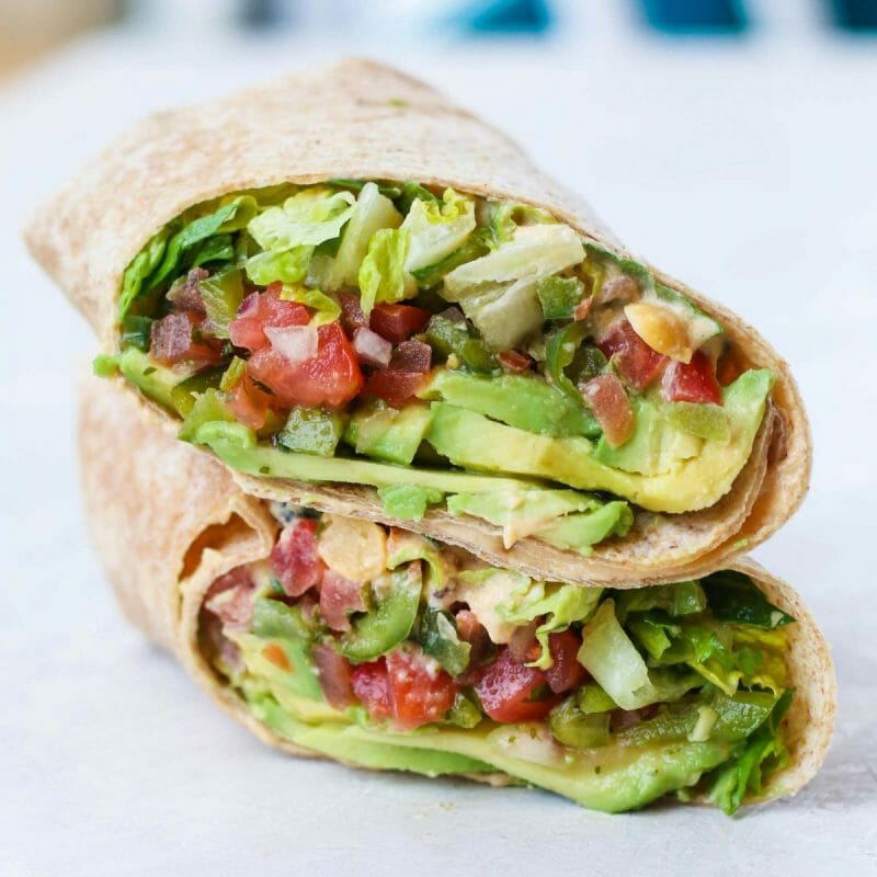 vegan avocado salad wrap