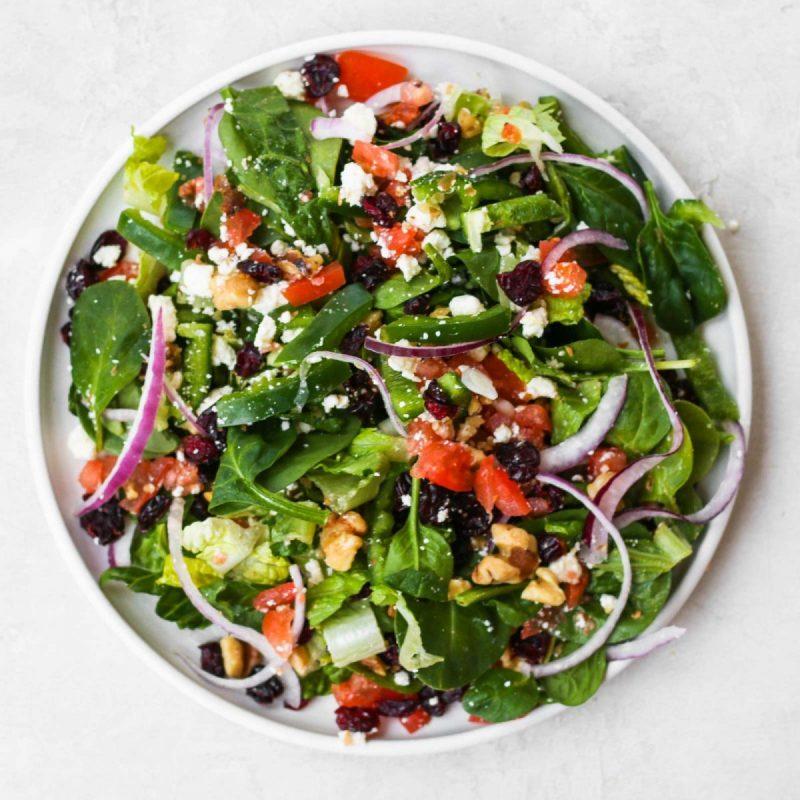 spinach green walnut cranberry salad