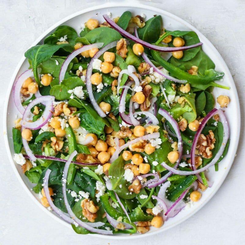spinach salad chickpea garbanzo bean
