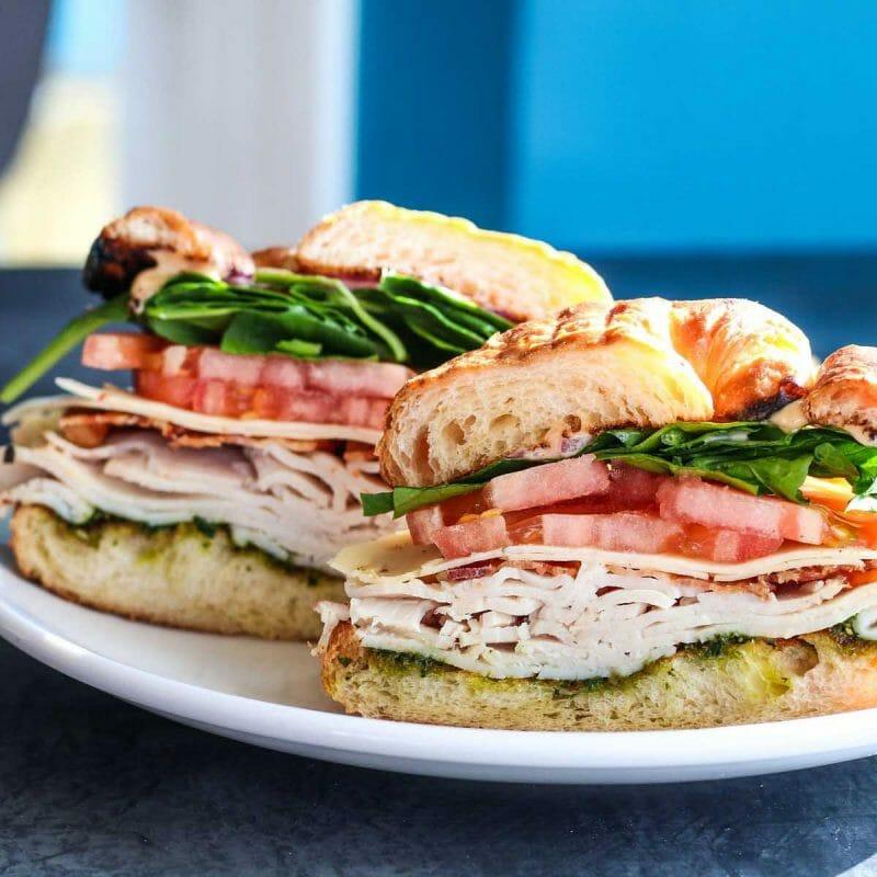 turkey bacon croissant deli sandwich