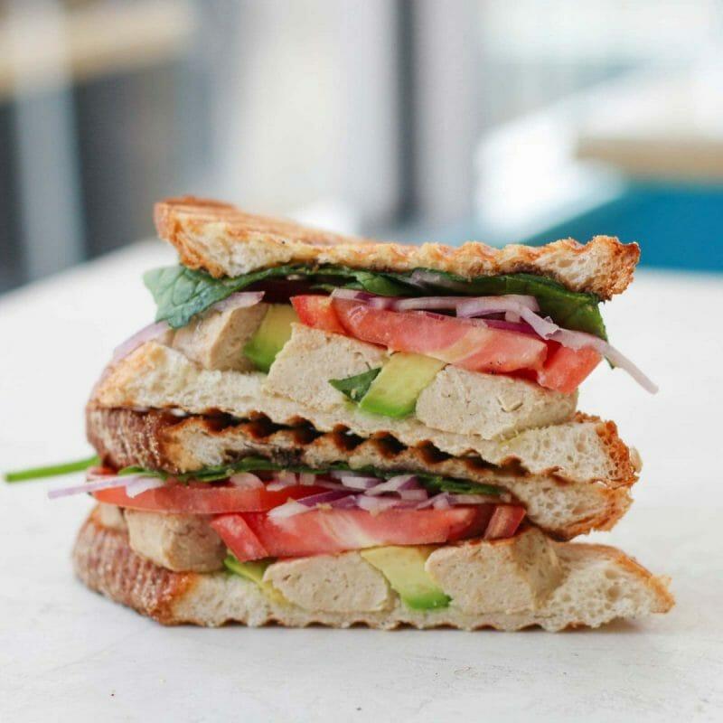 vegan chicken avocado sandwich